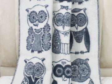 """Дизайнерское шерстяное одеяло """"Совы"""""""