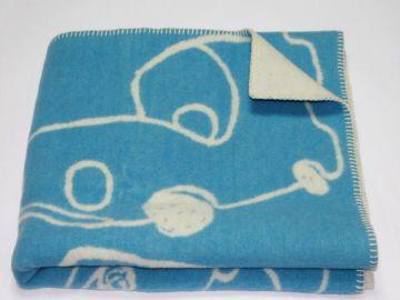 """Дизайнерское шерстяное одеяло """"Машинки голубые"""""""