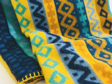"""Дизайнерское шерстяное одеяло """"Орнамент синий"""""""
