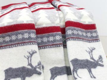"""Плед (одеяло) шерстяной """"Рождественские олени"""""""