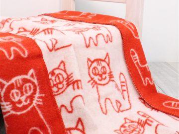 """Дизайнерское шерстяное одеяло """"Коты в красном"""""""